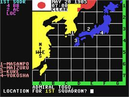 In game image of The Naval Battle of Tsushima on the Commodore 64.