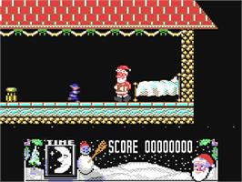 In game image of The Official Father Christmas on the Commodore 64.
