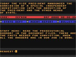 In game image of The President is Missing on the Commodore 64.