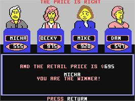 In game image of The Price is Right on the Commodore 64.
