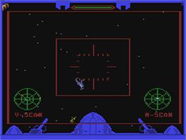 In game image of The Quest of the Space Beagle on the Commodore 64.