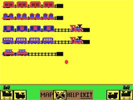 In game image of The Railroad Works on the Commodore 64.