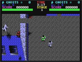 In game image of The Real Ghostbusters on the Commodore 64.