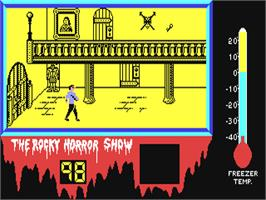 In game image of The Rocky Horror Show on the Commodore 64.