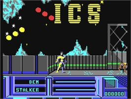In game image of The Running Man on the Commodore 64.