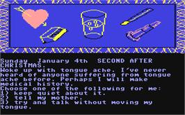 In game image of The Secret Diary of Adrian Mole on the Commodore 64.