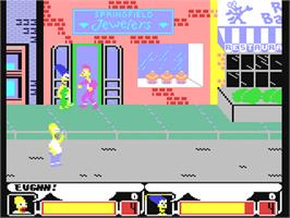 In game image of The Simpsons Arcade Game on the Commodore 64.