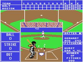 In game image of The Sporting News Baseball on the Commodore 64.