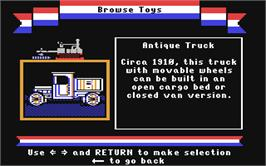 In game image of The Toy Shop on the Commodore 64.