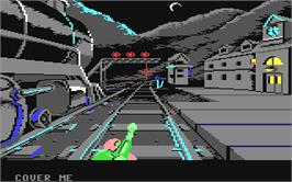 In game image of The Train: Escape to Normandy on the Commodore 64.