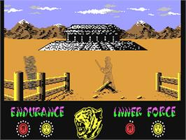 In game image of The Way of the Tiger on the Commodore 64.