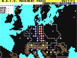 In game image of Theatre Europe on the Commodore 64.