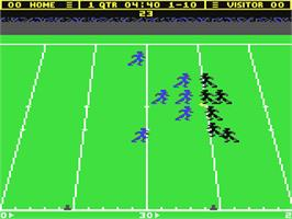 In game image of Touchdown Football on the Commodore 64.