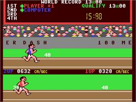 In game image of Track & Field on the Commodore 64.