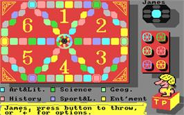 In game image of Trivial Pursuit on the Commodore 64.