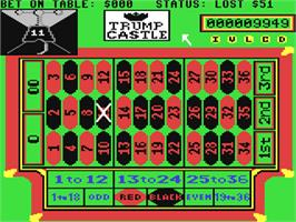 In game image of Trump Castle: The Ultimate Casino Gambling Simulation on the Commodore 64.