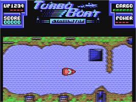 In game image of Turbo Boat Simulator on the Commodore 64.