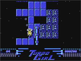 In game image of Turbo Girl on the Commodore 64.