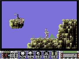 In game image of Turrican on the Commodore 64.
