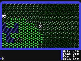 In game image of Ultima I: The First Age of Darkness on the Commodore 64.