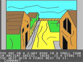 In game image of Ulysses and the Golden Fleece on the Commodore 64.
