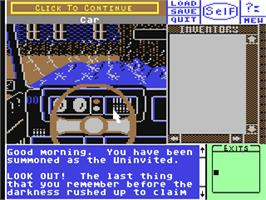 In game image of Uninvited on the Commodore 64.