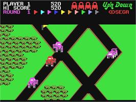 In game image of Up 'n Down on the Commodore 64.