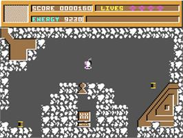 In game image of Video Meanies on the Commodore 64.
