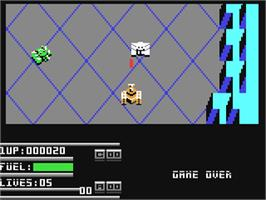 In game image of Vindicators on the Commodore 64.