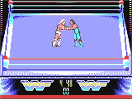 In game image of WWF Wrestlemania on the Commodore 64.