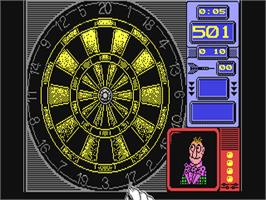 In game image of Wacky Darts on the Commodore 64.