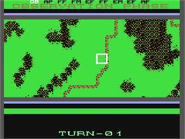 In game image of Wargame Construction Set on the Commodore 64.