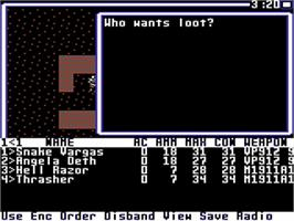 In game image of Wasteland on the Commodore 64.