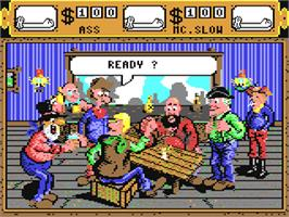 In game image of Western Games on the Commodore 64.