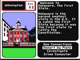In game image of Where in the USA is Carmen Sandiego? on the Commodore 64.