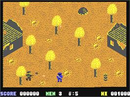 In game image of Who Dares Wins II on the Commodore 64.