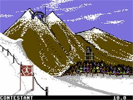 In game image of Winter Games on the Commodore 64.