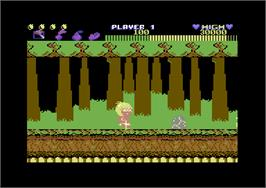 In game image of Wonder Boy on the Commodore 64.