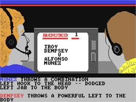 In game image of World Championship Boxing Manager on the Commodore 64.