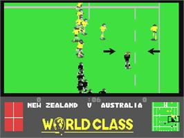 In game image of World Class Rugby on the Commodore 64.
