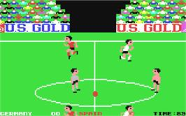 In game image of World Cup Carnival on the Commodore 64.