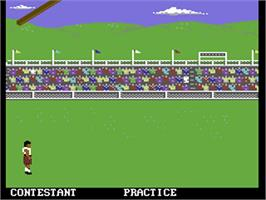 In game image of World Games on the Commodore 64.