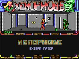 In game image of Xenophobe on the Commodore 64.
