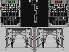 In game image of Xybots on the Commodore 64.