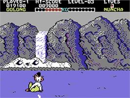 In game image of Yie Ar Kung-Fu on the Commodore 64.