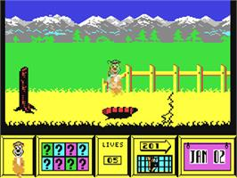 In game image of Yogi Bear on the Commodore 64.