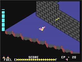 In game image of Zaxxon on the Commodore 64.