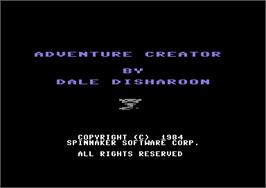 Title screen of Adventure Creator on the Commodore 64.