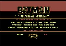 Title screen of Batman: The Movie on the Commodore 64.