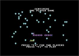 Title screen of Centipede on the Commodore 64.
